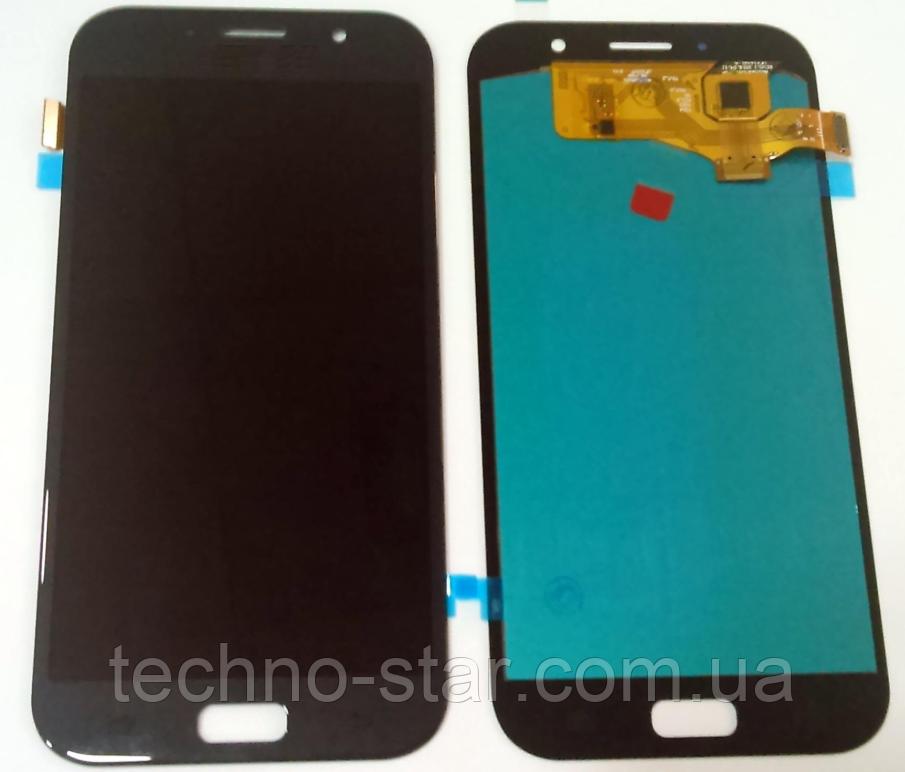 Дисплей (модуль) + тачскрин (сенсор) для Samsung Galaxy A7 2017 A720 | A720F (черный, яркость регулируется)