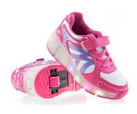 Светящиеся кроссовки ролики с LED подсветкой и USB кабелем. р. 30-36