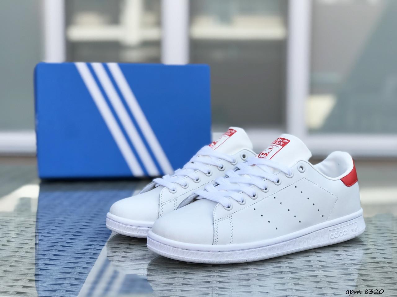 Чоловічі кросівки Adidas Stan Smith ( біло-червоні)