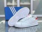 Чоловічі кросівки Adidas Stan Smith ( біло-червоні), фото 3