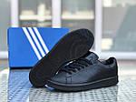 Жіночі кросівки Adidas Stan Smith (чорні), фото 3