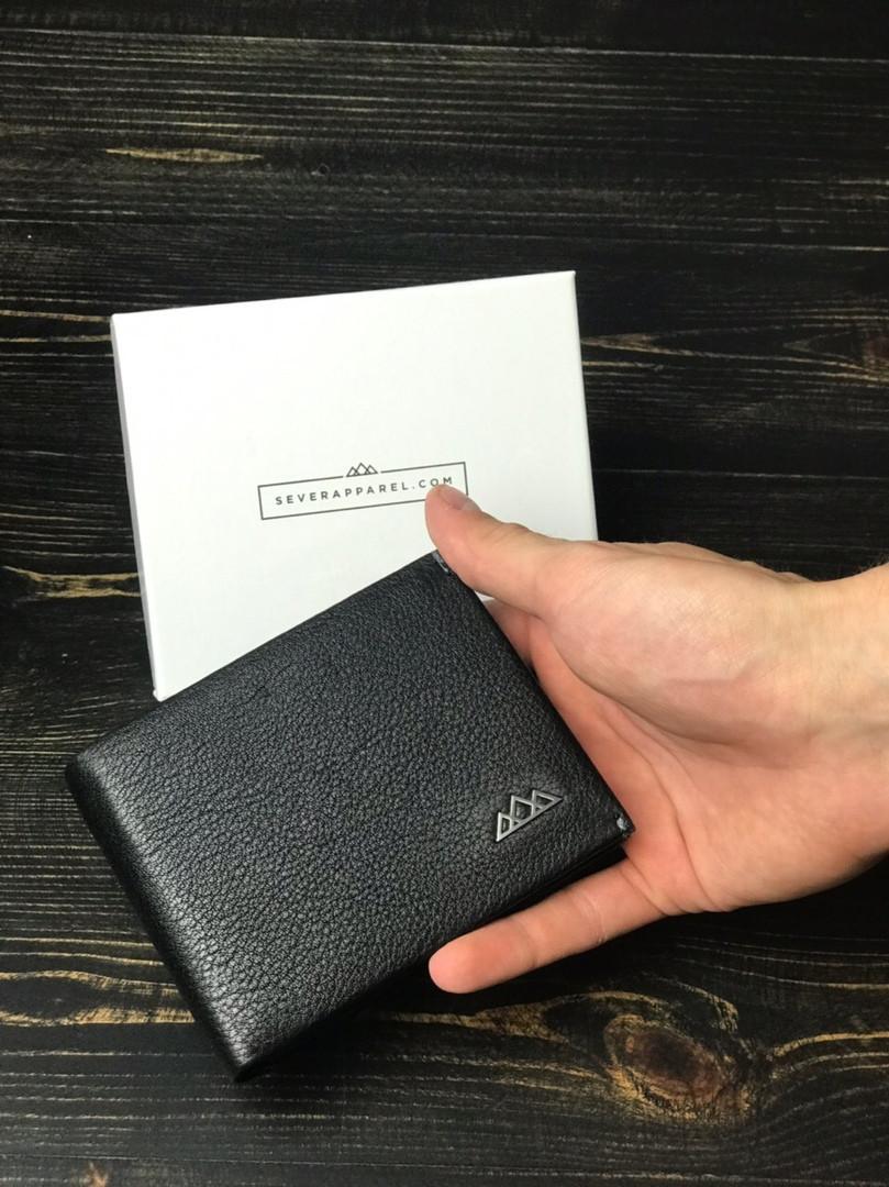 Чоловічий гаманець з натуральної шкіри (чорний) - з тримачем для грошей