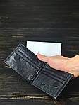 Чоловічий гаманець з натуральної шкіри (чорний) - з тримачем для грошей, фото 2