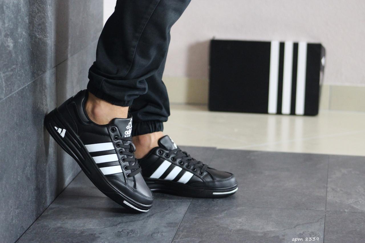Мужские кроссовки Adidas ilie nastase (черно-белые)