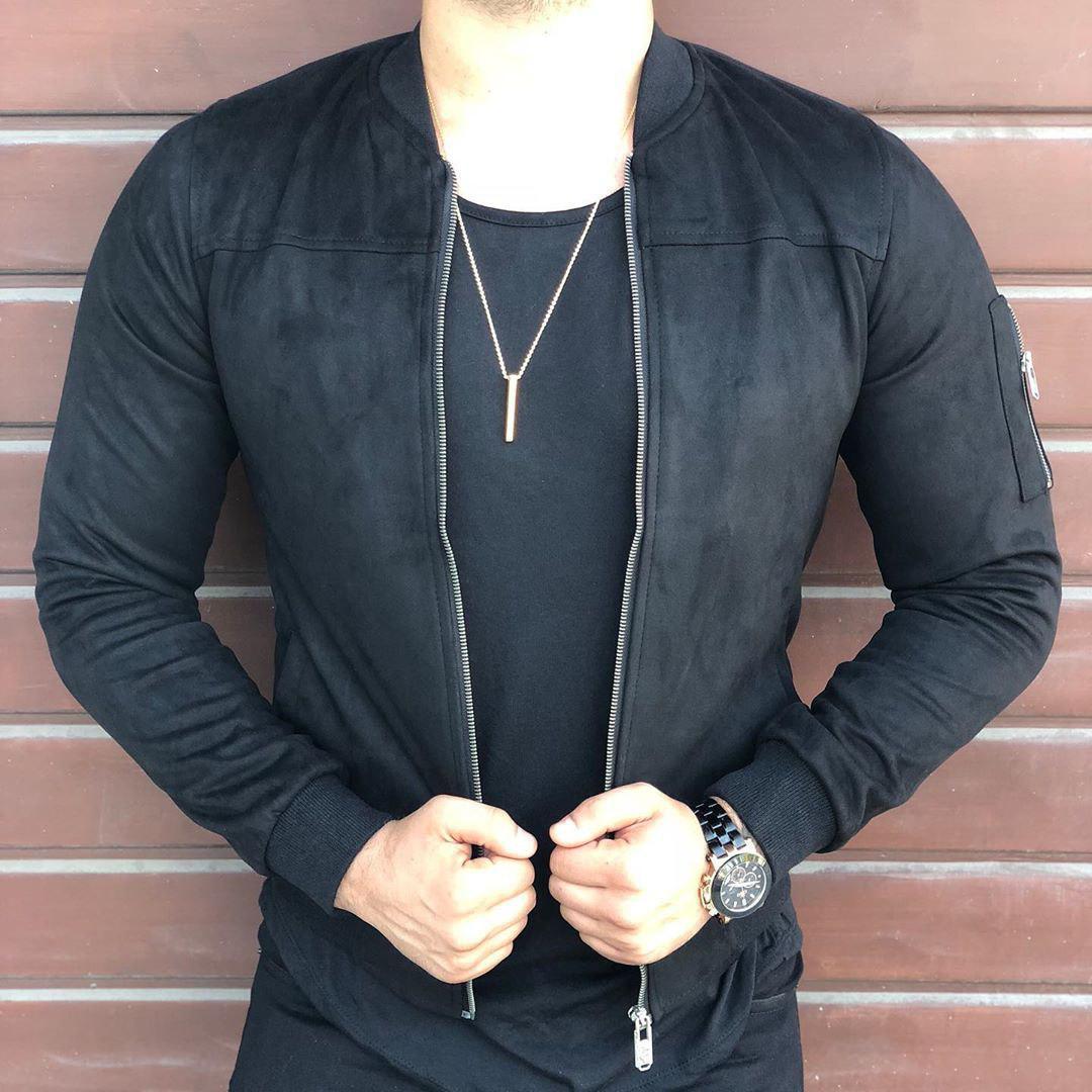 Мужской стильный бомбер (черный) - Турция