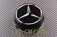 A0004000900 Колпачек для оригинального диска Mercedes 75мм черный+хром (высокий колпачек), фото 1