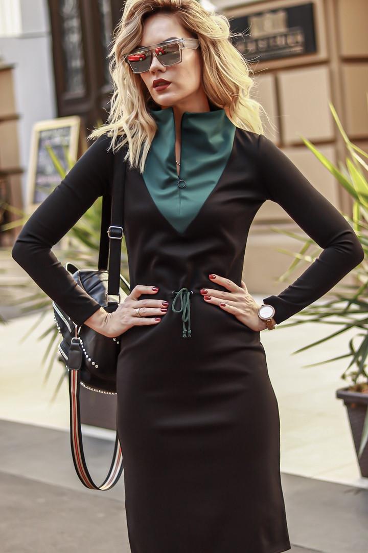 Платье комбинированное / итальянский трикотаж / Украина 44-0089, фото 1