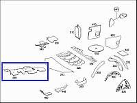 Шумоизоляция тоннеля АКПП Mercedes ML W164, 2007 г.в. A1646822701