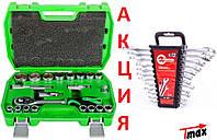 АКЦИЯ! Набор инструментов головок Intertool ET-6021SP + Набор ключей рожково накидных INTERTOOL HT-1203 12ед.