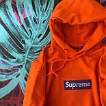 Supreme - оранжевая худи с синей вышивкой  (Реплика А++), фото 2