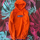 Supreme - оранжевая худи с синей вышивкой  (Реплика А++), фото 3