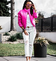 Короткая куртка осень (цвет- малиновый, ткань - плащевка + синтепон) Размеры S,М,L (розница и опт)