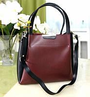Стильная комбинированная женская сумка, черно-бордового цвета (4 варианта расцветки)