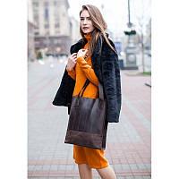 Кожаная женская сумка шоппер Бэтси темно-коричневая, фото 1