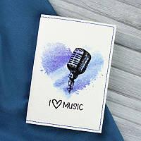 Обложка для паспорта I love music + блокнотик, фото 1