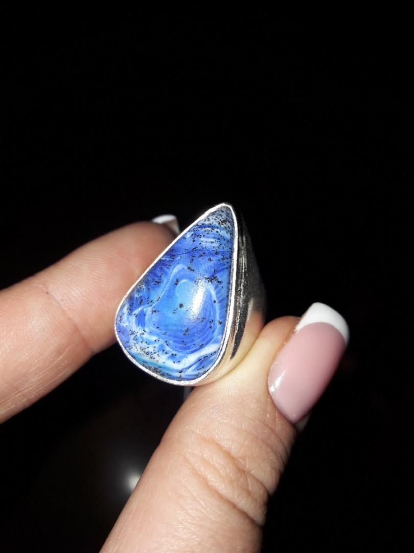 Дендритовый опал красивое кольцо капля с дендро-опалом в серебре 16,5 17 размер Индия