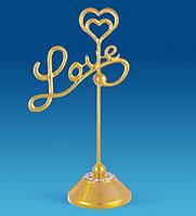 """Держатель для визиток """"Love"""" Сваровски с позолотой AR-1134. Подарки на 14 февраля"""