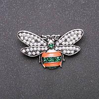 Брошь Пчелка зеленая и оранжевая эмаль