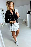 Модная куртка косуха (цвет- черный, ткань - замш на дайвинге + подклада) Размеры S,М,L (розница и опт)