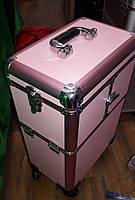 Чемодан-трансформер проффесиональный на колесиках для мастеров, размер 57х25х3 см, цвет розовый, фото 1