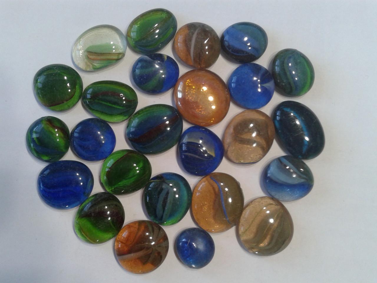 Камни декор стеклянные Stones капли большые (разноцветные внутри с узором)