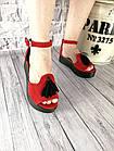 Женские босоножки красного цвета, из натуральной замши, фото 4