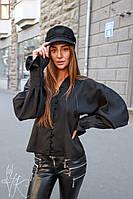 """Блуза женская шикарная модная с объемными рукавами """"епископа"""" Bk388"""