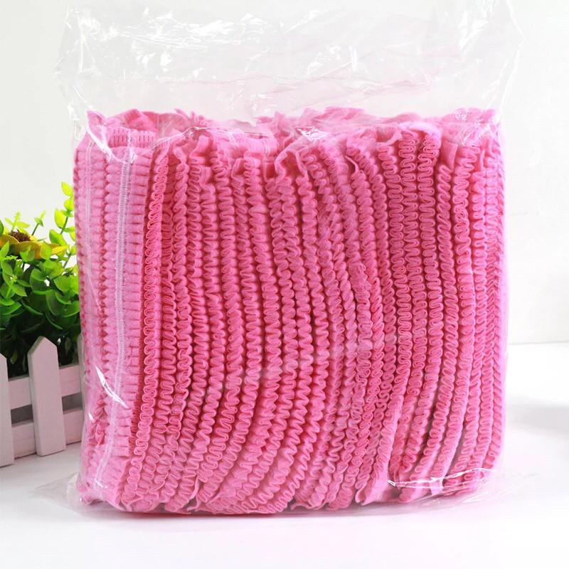 Шапочки одноразовые (гармошка), розовые, 10 шт