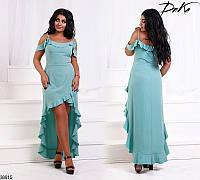 Красивое платье женское летнее легкое асимметричное 42-52 размеров, 4 цвета