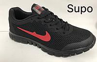 Кроссовки мужские повседневные черные весна-лето-осень Nike Air текстиль дышащие легкие 41-45 размеров (0014)
