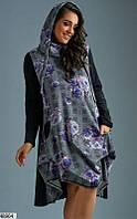 Молодежное платье женское демисезонное ангора+трикотаж больших батальных размеров 58-62
