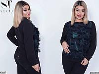 Женский черный свитер нарядный демисезонный трехнить больших размеров 48-58, 2 цвета