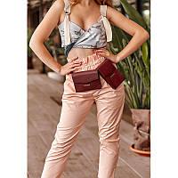 Набор женских бордовых кожаных сумок Mini поясная/кроссбоди, фото 1