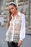 Блуза женская красивая со вставками сетки со стильным узором Bk390