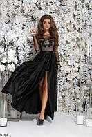 Длинное платье женское нарядное вечерние выпускное шелковое 42-46 размеров, 4 цвета