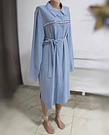 Платье-рубашка с серебристой полоской-вставкой и поясом