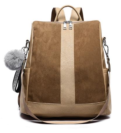 Рюкзак-сумка женский коричневый ( код: R618 )