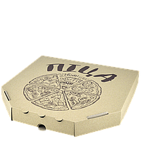 Коробка для пиццы, 30 см бурая с принтом, 300*300*35, мм (1уп/50шт)
