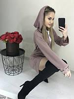Платье-худи женское демисезонное двунитка 42-58 размеров, 4 цвета