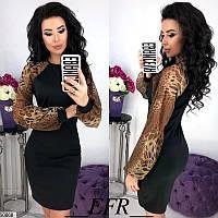 Платье женское демисезонное трикотажное 42-48 размеров, 3 цвета