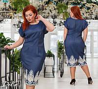 Женское платье летнее легкое джинс+кружево 50-56 размеров