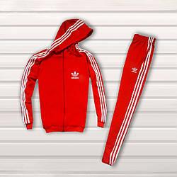 Спортивный костюм Adidas (Premium-class) красный с капюшоном