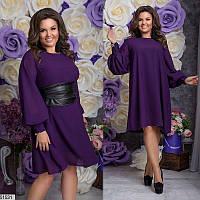 Платье женское демисезонное нарядное шифоновое 48-58 размеров, 4 цвета