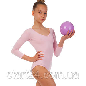 Купальник гимнастический с длинным рукавом из хлопка SP-Planeta DR-56-P (р-р RUS 32-42, рост 122-164см,  розовый)