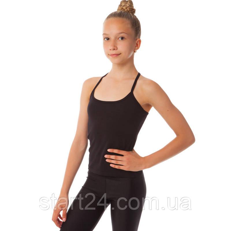 Майка спортивная на бретелях из хлопковой ткани детская SP-Planeta DR-776 (р-р RUS-32-42, рост 122-164см, черный)
