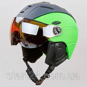 Шлем горнолыжный с визором и механизмом регулировки MOON MS-6296-LG (PC, p-p M-L-55-61, салатовый)