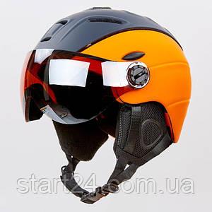 Шлем горнолыжный с визором и механизмом регулировки MOON MS-6296-OR (PC, p-p M-L-55-61, оранжевый)