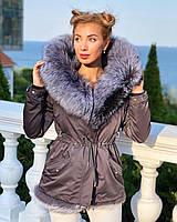 Серая куртка парка с натуральным мехом чернобурки на капюшоне
