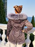 Серая куртка парка с натуральным мехом чернобурки на капюшоне, фото 7