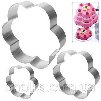 """Кольца для торта """"Цветочек"""" 3пр/наб d20/15/10*4.5см"""